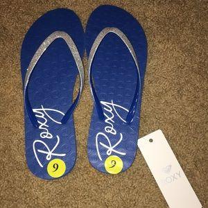 NET SZ 9 Roxy sandals blue with silver glitter